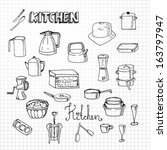 hand drawn kitchen set | Shutterstock .eps vector #163797947