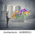 concept of creative business... | Shutterstock . vector #163800011