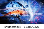 back view of automobile in... | Shutterstock . vector #163800221