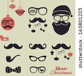 hipster christmas elements.... | Shutterstock .eps vector #163801205