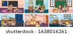 six scenes with children doing... | Shutterstock .eps vector #1638016261