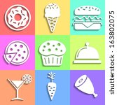 flat food icons collection.... | Shutterstock .eps vector #163802075