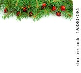 christmas border design on the... | Shutterstock . vector #163807085