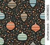 seamless christmas background... | Shutterstock .eps vector #163808831