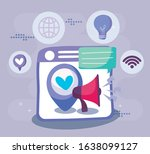 website heart gps mark and... | Shutterstock .eps vector #1638099127