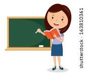 teaching. school teacher or... | Shutterstock .eps vector #163810361