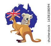 kangaroo and koala with map of... | Shutterstock .eps vector #1638108094