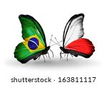 two butterflies with flags on... | Shutterstock . vector #163811117