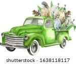 Watercolor Easter Retro Truck...