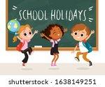 school kids jumping by... | Shutterstock .eps vector #1638149251