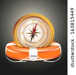 red lifebelt with compass  | Shutterstock .eps vector #163815449