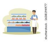 supermarket. seafood freezer.... | Shutterstock .eps vector #1638194977