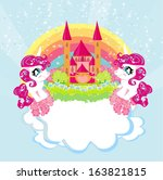 card with a cute unicorns... | Shutterstock .eps vector #163821815