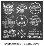 christmas and new year badges... | Shutterstock .eps vector #163822091