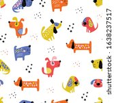 childish seamless pattern with... | Shutterstock .eps vector #1638237517