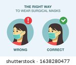 how to wear surgical or medical ... | Shutterstock .eps vector #1638280477