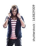 the guy in the striped shirt on ... | Shutterstock . vector #163829309