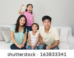 portrait of a happy family of... | Shutterstock . vector #163833341