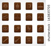 Wood button Bakery icons set  - stock vector