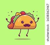 Taco Mustache Mascot Cartoon...