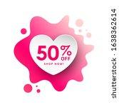 watercolor bubble heart paper... | Shutterstock .eps vector #1638362614