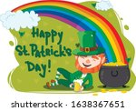 leprechaun with a pot of gold... | Shutterstock .eps vector #1638367651