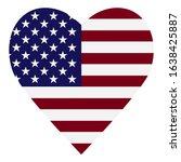 Flag Usa Heart On White...