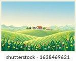 rural summer landscape with... | Shutterstock .eps vector #1638469621