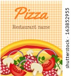 menu template with pizza on... | Shutterstock .eps vector #163852955