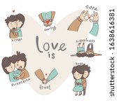 cute couple in love... | Shutterstock . vector #1638616381