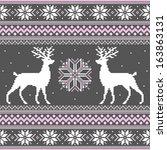 cute winter ornament with deer... | Shutterstock .eps vector #163863131