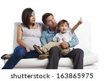 happy family portrait  father ... | Shutterstock . vector #163865975