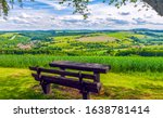 Wooden bench in nature scene....