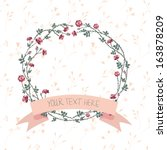 vector floral frame with ribbon | Shutterstock .eps vector #163878209