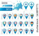 europe. flag pointer. vector... | Shutterstock .eps vector #163895771