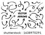 black hand drawn arrows set on... | Shutterstock .eps vector #1638970291