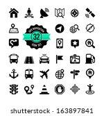 web icon set. location ... | Shutterstock .eps vector #163897841