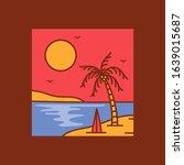simple logo badge beach design... | Shutterstock .eps vector #1639015687