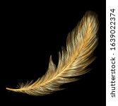 Gold Feather Isolated On Black...