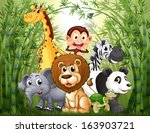 animales,mono,bambú,oso,dibujos animados,criaturas,durante el día,dibujo,ecosistema,elefante,medio ambiente,bosque,regalo,jirafa,gráfico