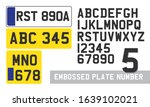 plate number font template...   Shutterstock .eps vector #1639102021