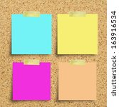 colorful reminder notes on a... | Shutterstock . vector #163916534