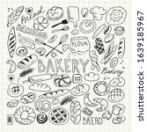 hand drawn bread and pastry... | Shutterstock .eps vector #1639185967