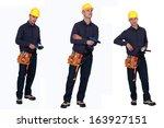 multiple shot of carpenter... | Shutterstock . vector #163927151