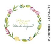 watercolor floral frame. vector ... | Shutterstock .eps vector #163931759