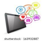 tablet computer social media... | Shutterstock . vector #163932887