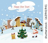 christmas card with a snowman ... | Shutterstock .eps vector #163941941
