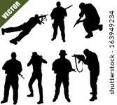various poses of army soldiers... | Shutterstock .eps vector #163949234