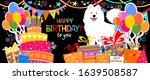 happy birthday banner. greeting ... | Shutterstock . vector #1639508587