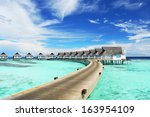 water villas  bungalows  on the ...   Shutterstock . vector #163954109